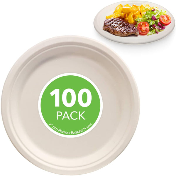 Compostable Luncheon Plates- Eco Friendly Natural Bagasse Sugarcane Dinnerware Set, 100-Count, 6 Inch - Eco Trade Company