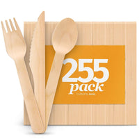 Disposable Wooden Cutlery Set - Natural, Eco-Friendly, Biodegradable, Compostable - Eco Trade Company