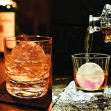 Silicone Sphere Whiskey Ice Ball Maker with Lids & Large Square Ice Cube Molds for Cocktails & Bourbon - Reusable & BPA Free