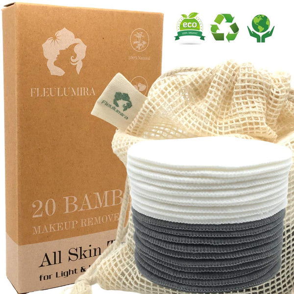 20 Packs Reusable Makeup Remover Pads - Organic Natural Bamboo and Bamboo Charcoal - Eco Trade Company