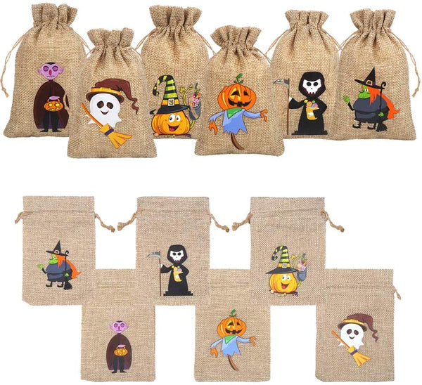 36 Pieces Halloween Burlap Gift Bags for Kids Party Supply - Eco Trade Company