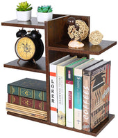 Wood Desktop Bookshelf Assembled Countertop Bookcase Literature Holder Accessories Display Rack Office Supplies Desk Organizer - Eco Trade Company