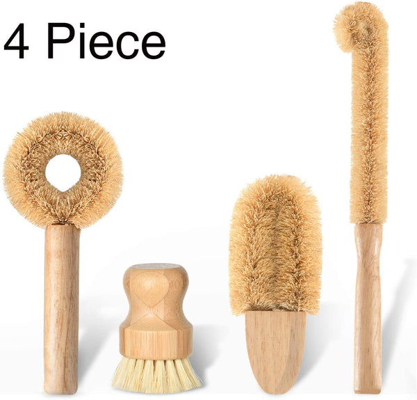 Kitchen Scrub Brush Set, All Natural Cleaning Brushes for Dish/Bottle/Vegetable/Pan/Pot - Eco Trade Company
