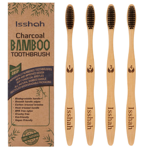 Biodegradable Eco-Friendly Natural Bamboo Charcoal Toothbrush - Pack Of 4 - Eco Trade Company