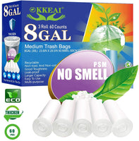 Biodegradable White Garbage Bags 60 Count Fit 7-9 Gal