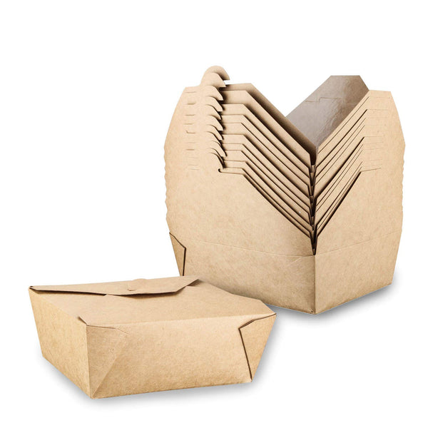 Take Out Food Containers, Take Out Boxes Microwaveable Natural Kraft Food Box - Leak and Grease Resistant