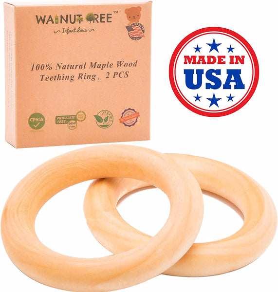 "Organic Maple Montessori Wood Teether Ring 3"", Handcrafted Toy, 2 Rings, Made in USA - Eco Trade Company"