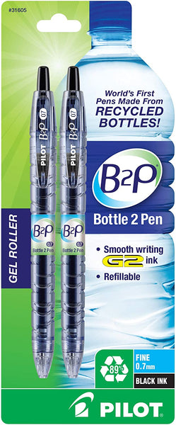 Bottle to Pen - Refillable & Retractable Rolling Ball Gel Pen - Made From Recycled Bottles, Fine Point - Eco Trade Company