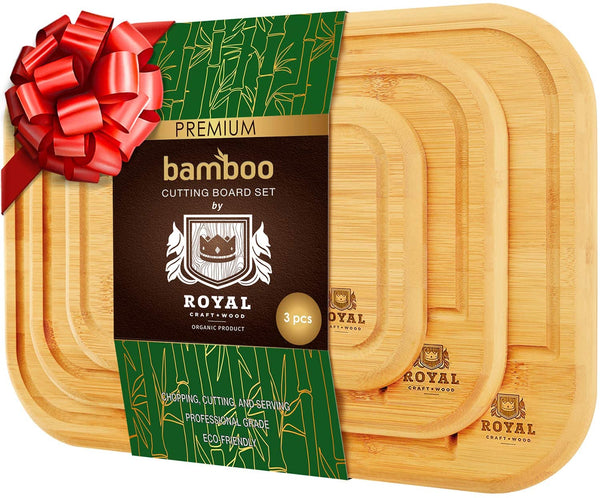 Organic Bamboo Cutting Board with Juice Groove (3-Piece Set) - Eco Trade Company