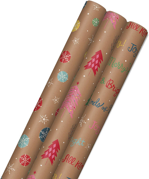 Bright and Bold Christmas Sustainable Kraft Wrapping Paper- Made in USA - Eco Trade Company