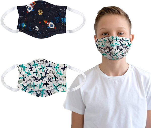 Kids face mask | 100% Cotton Comfortable Easy Breathing | 2 pcs Set for Children - Eco Trade Company