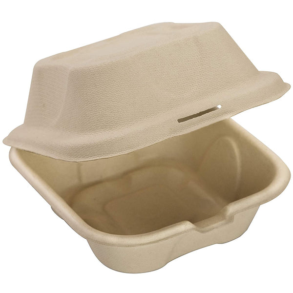 Biodegradable 6x6 Take Out Food Containers with Clamshell Hinged Lid, Microwaveable, Disposable Takeout Box Great for Restaurant Carryout - Eco Trade Company