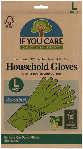 Cotton Flock Lined Household Gloves, Large 100% Natural Latex, 100% Renewable Resources - Eco Trade Company