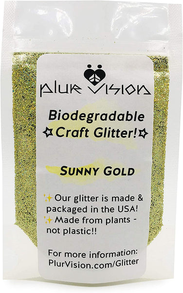 Gold Biodegradable Glitter 1/2 Ounce - Made from Plant Cellulose, Earth Friendly. Perfect for Crafts, DIY Projects, Cosmetics Made in USA - Eco Trade Company
