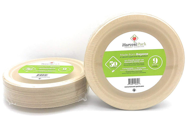 9 Inch Round Disposable Plates - Natural Fibers Sturdy Compostable Eco Friendly Environmental - Eco Trade Company