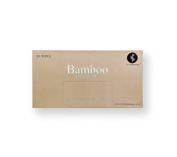 80 Disposable Pure Bamboo Dry Cleansing Cloths in a Plastic-Free Box - Eco Trade Company