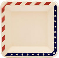 "6.5"" inches American Flag Contemporary Disposable Square Plate - Made From Natural Plant Fibers Compostable Eco Friendly - Eco Trade Company"