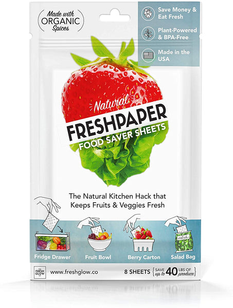 THE FRESHGLOW Co FRESHPAPER Food Saver Sheets for Produce, 8 Reusable Sheets (1 Pack) - Eco Trade Company