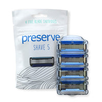 Preserve Shave 5 Five Blade Refillable Razor, Made from Recycled Materials - Eco Trade Company