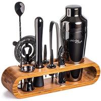 Bartender Kit: 10-Piece Bar Set Cocktail Shaker Set with Stylish Bamboo Stand - Eco Trade Company
