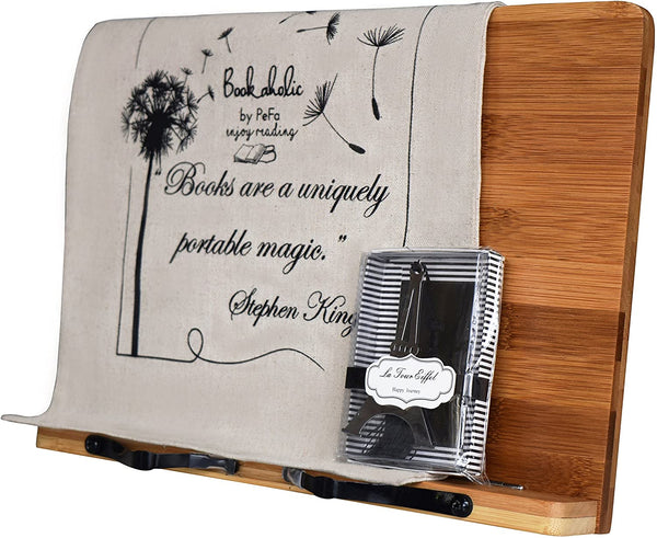 Bamboo Book Stand Cookbook Holder Book Rest Reading Stands Tablet Holders - Eco Trade Company