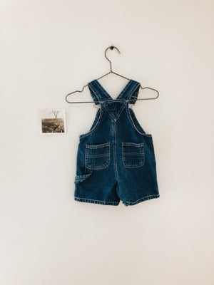 Overalls Dark Denim Shorts- Size 0-3M
