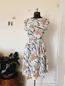 White Floral Dress- Size M