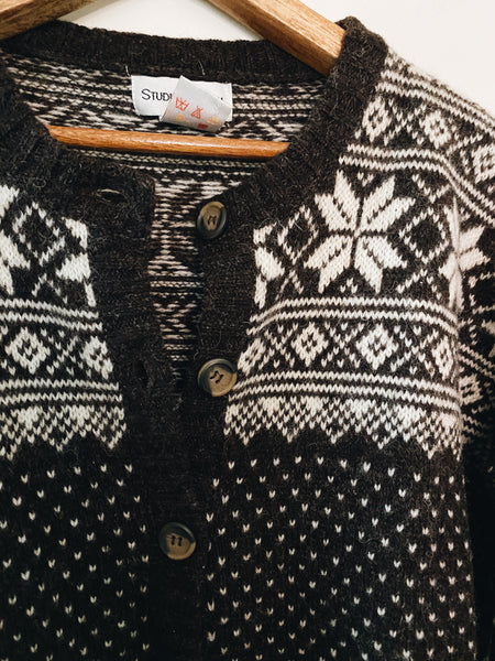 Vintage Brown Wool Cardigan size M/L