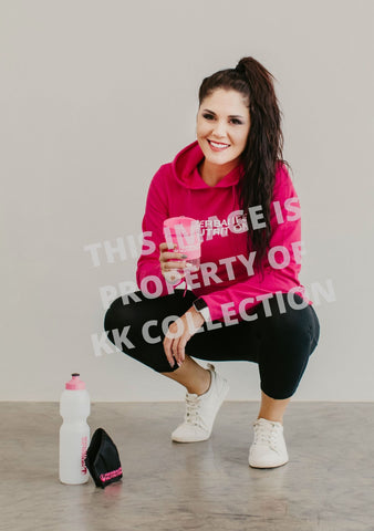 Cerise Pink Hoodie with White flocked Branding