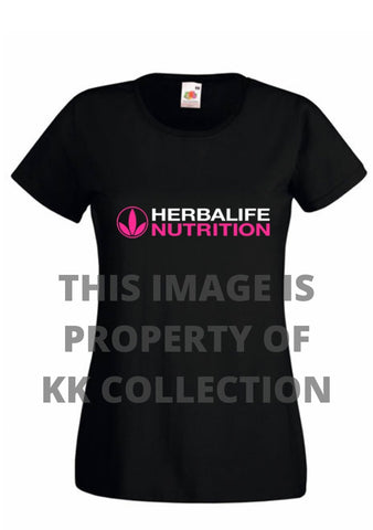 Ladies Tee Black with hot pink