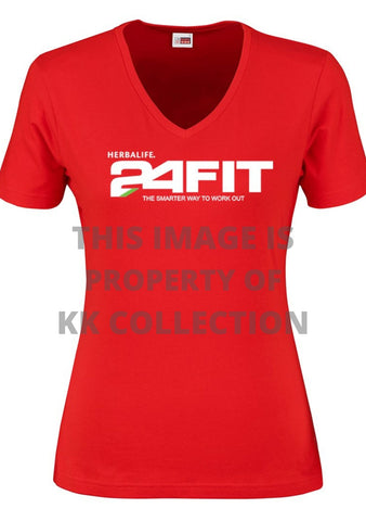 Ladies Red Tee with 24fit branding