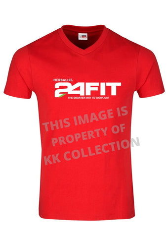 Mens Red Tee with 24fit branding