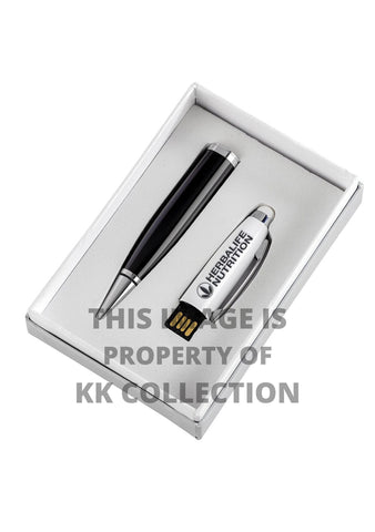 Black engraved pen with 16gb flash drive