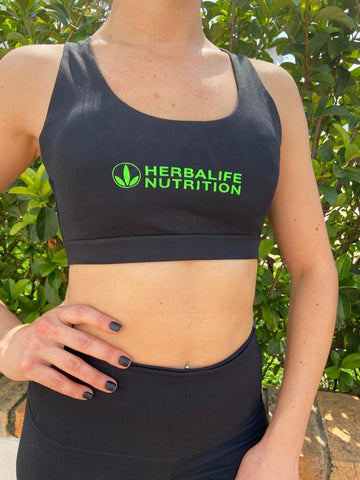 Black Sports Bra with Neon logo