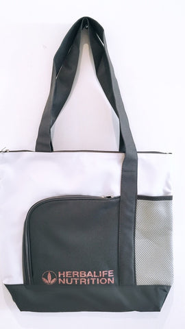 White and grey tote with rose gold