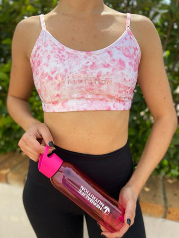 Pink Watercolour sports bra with adjustable back straps