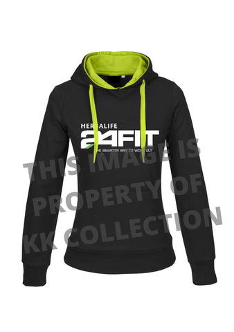 Ladies lime lined black hoodie with 24fit logo