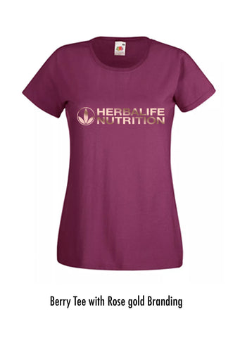 Ladies T Shirt Berry with rose gold