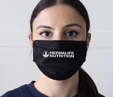 Black face mask with White logo