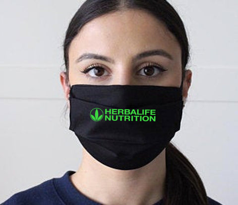 Black face mask with Neon Green logo