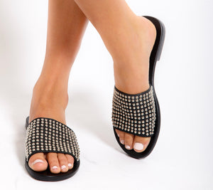 Sadie Slide - Black Studded