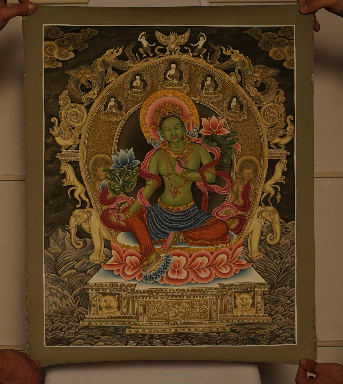 Green Tara with Gold and Precious Stone Colors