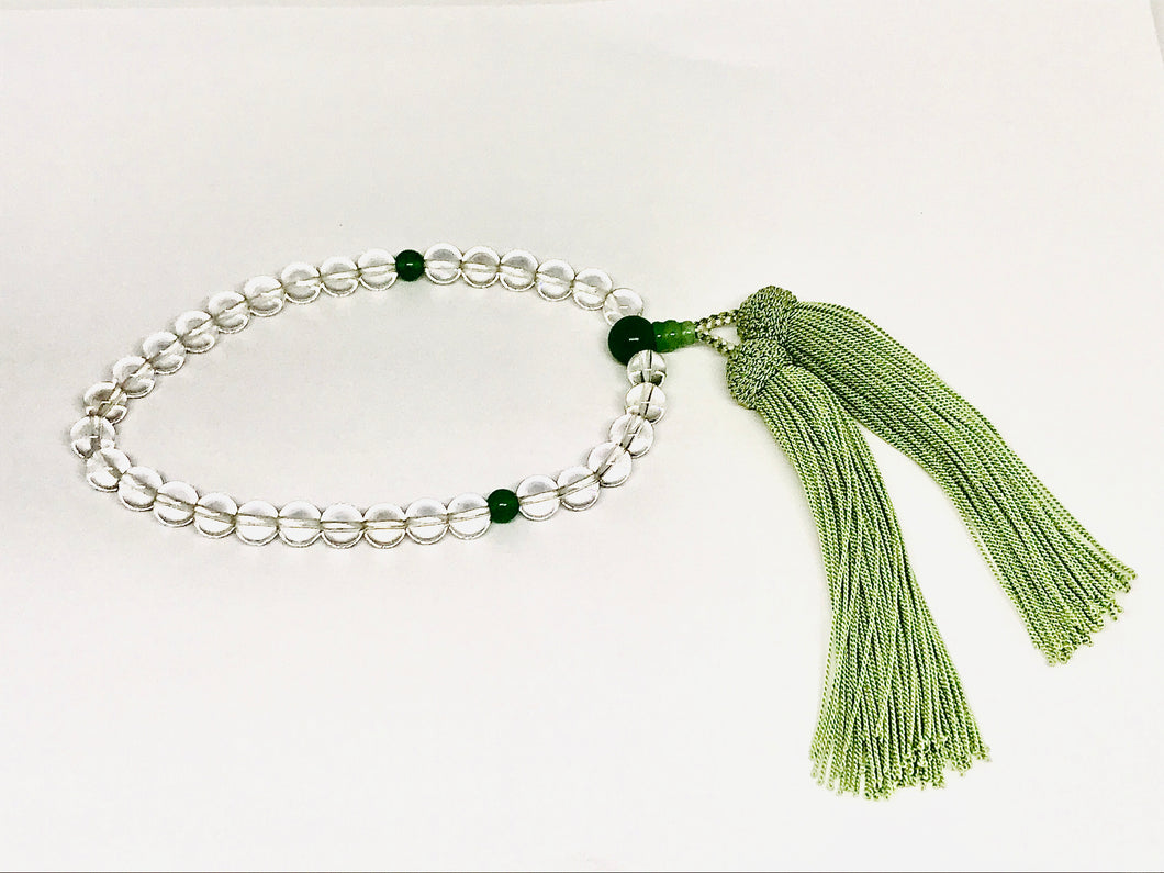 Clear Crystal Quartz Hand Mala with Green Tassel