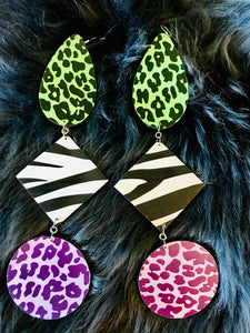 3 tier earrings, green, white, purple