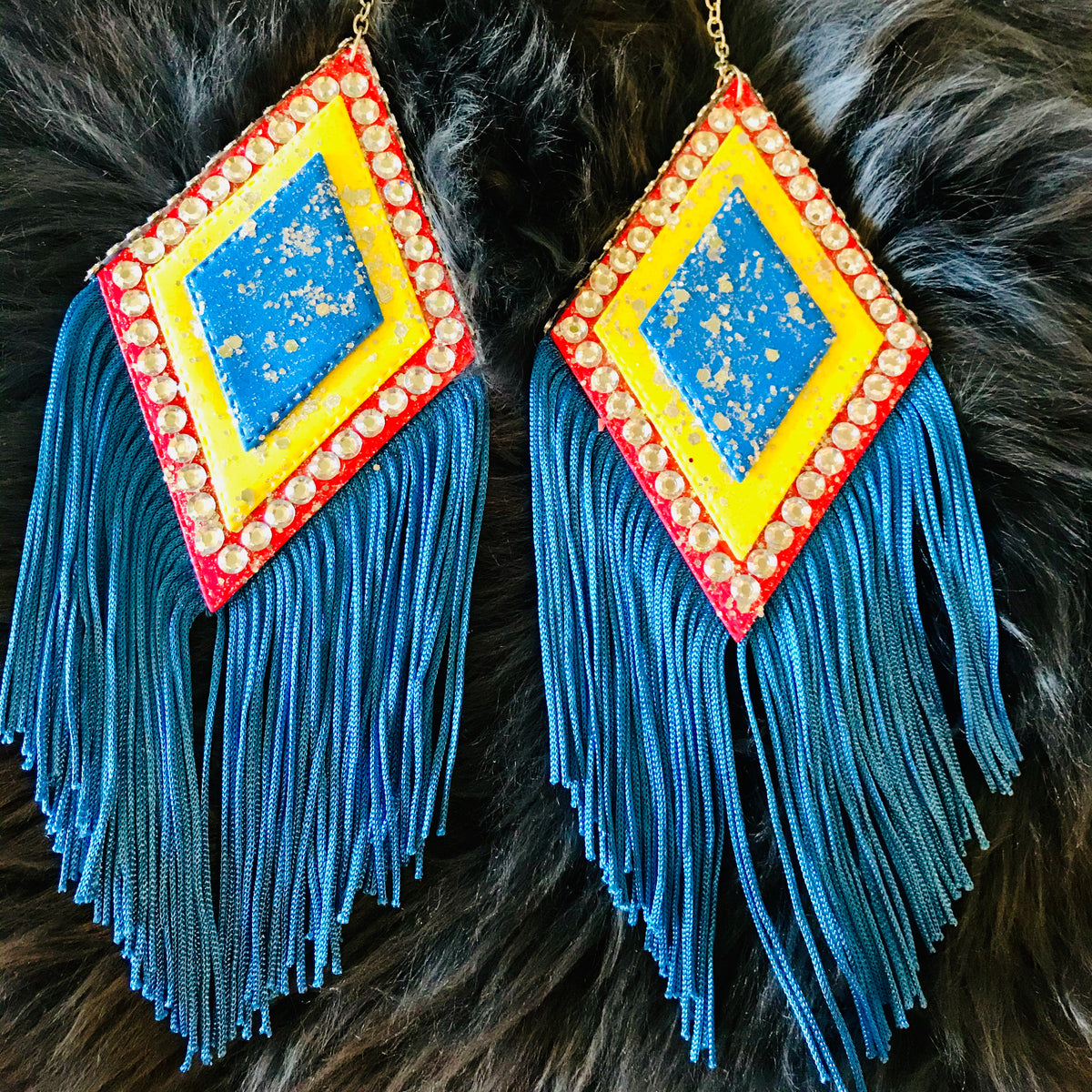 Triangle with fringe earrings, blue, yellow, pink