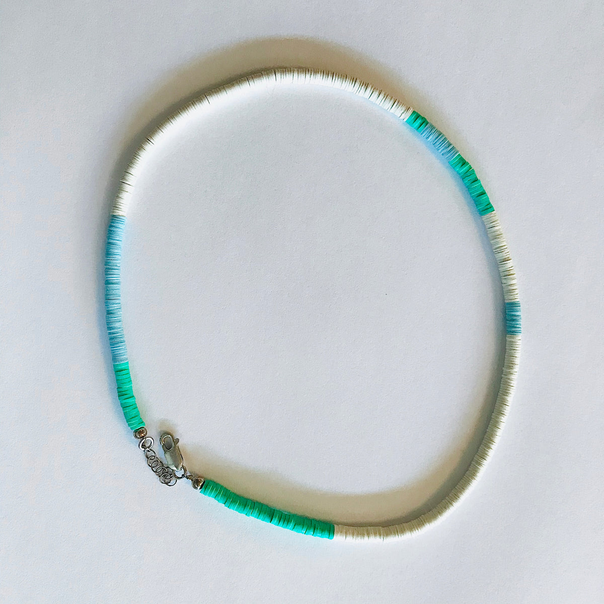 Beach necklace- green-blue/ white
