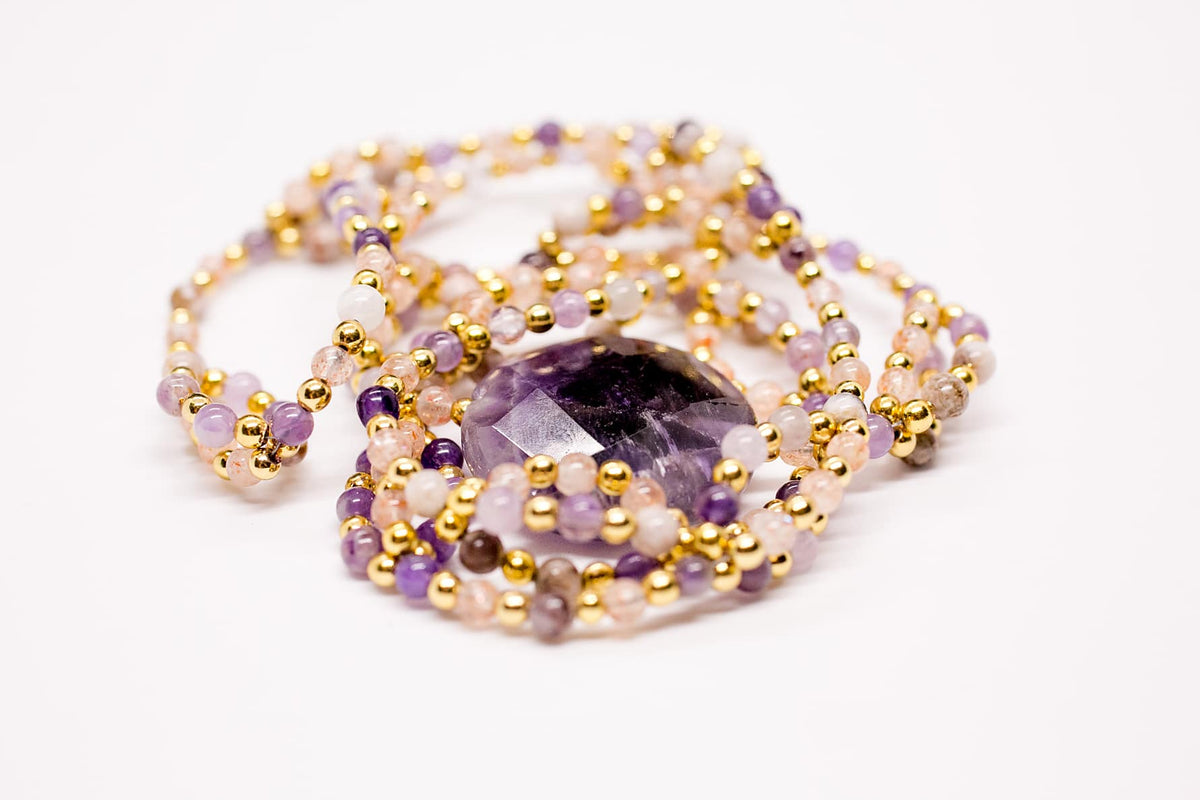 I AM. Necklace Mala with Amethyst pendant