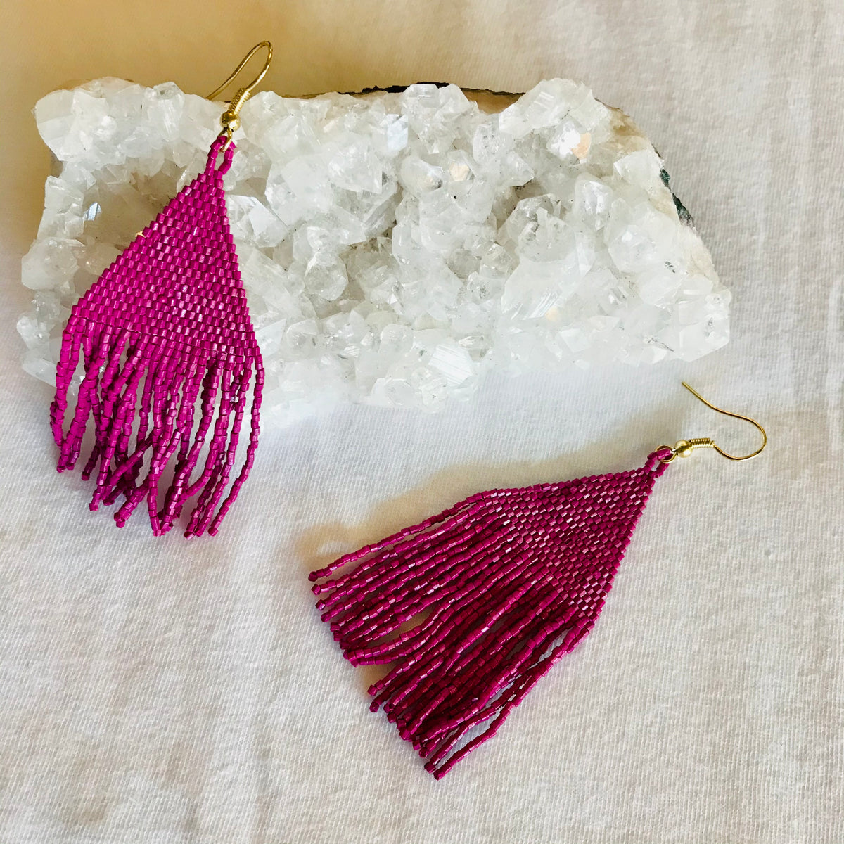 Magenta Luxe Petite Fringe earrings