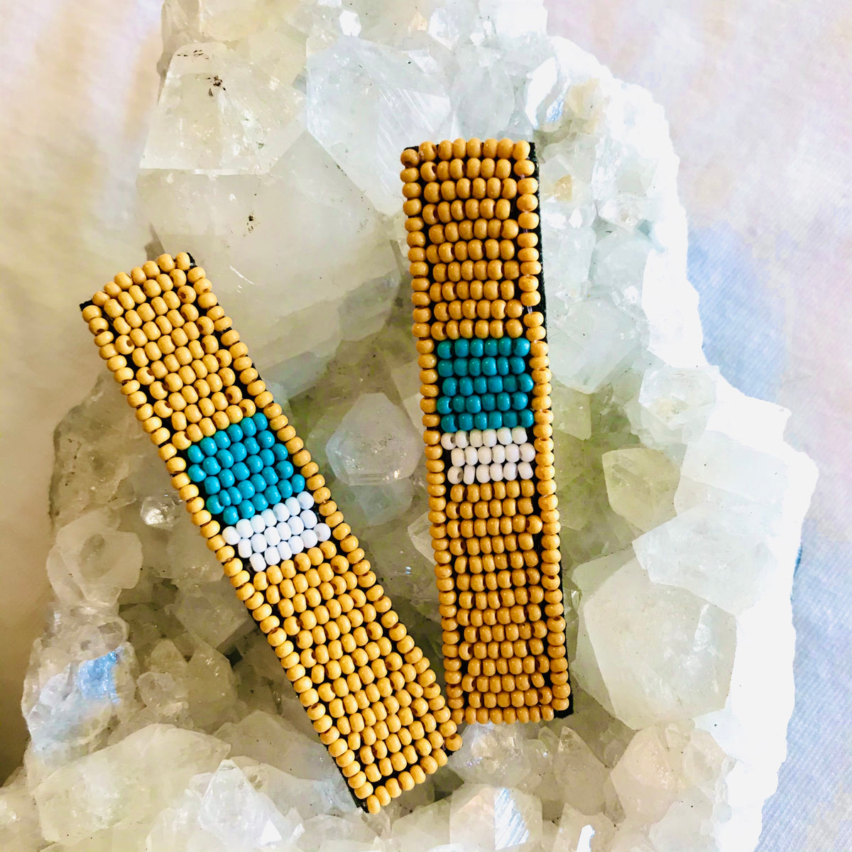 Yellow Turquoise Ivory Beaded Hair Clip