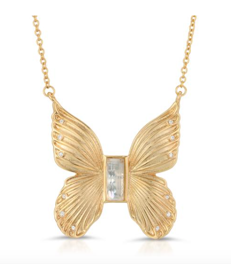 Gem Butterfly Necklace, Cracked Mother of Pearl